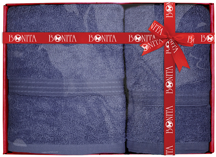 Набор банных полотенец Bonita Classic, цвет: синий, 70 х 140 см, 2 шт набор банных полотенец bonita classic цвет светло бежевый 70 х 140 см 2 шт
