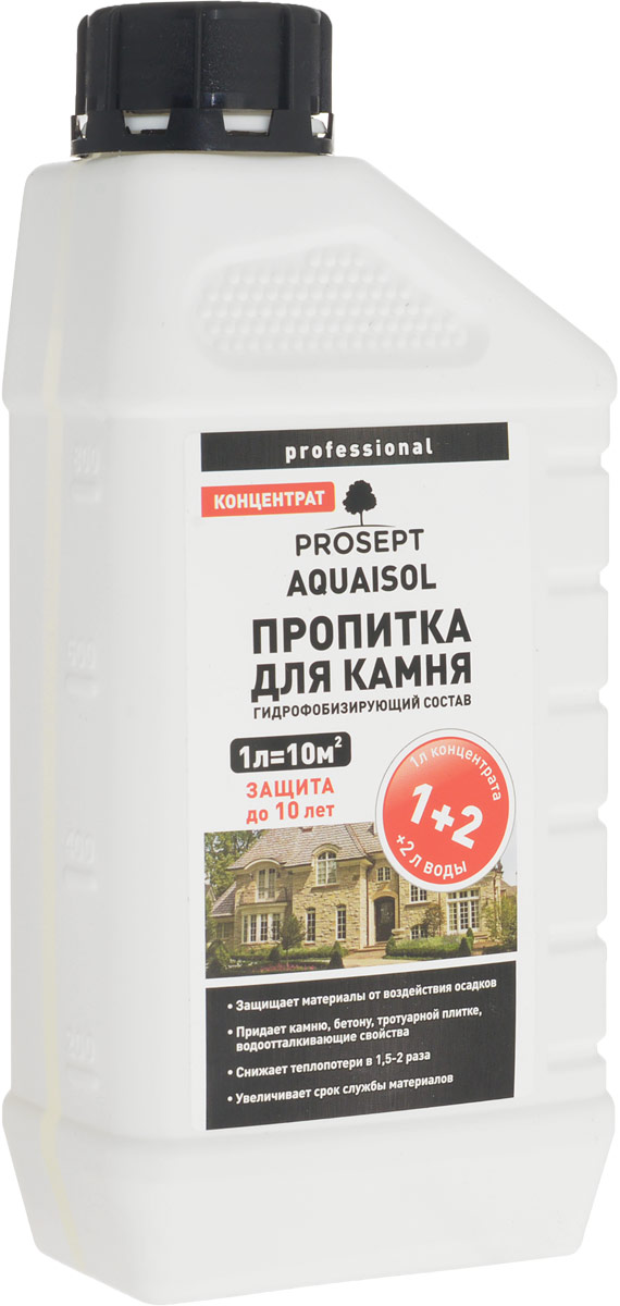 Пропитка для камня Prosept Aquaisol, гидрофобизирующий состав, 1:2, 1 л картрайт п кирпичная кладка уроки мастера