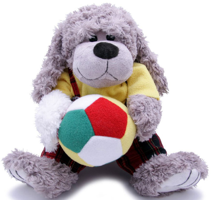 Magic Bear Toys Мягкая игрушка Собака Мальчик с мячом 23 см