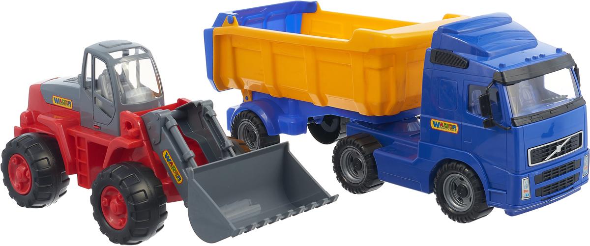 Полесье Набор машинок Самосвал Volvo с полуприцепом Трактор-погрузчик цвет в ассортименте, полесье погрузчик карат цвет в ассортименте