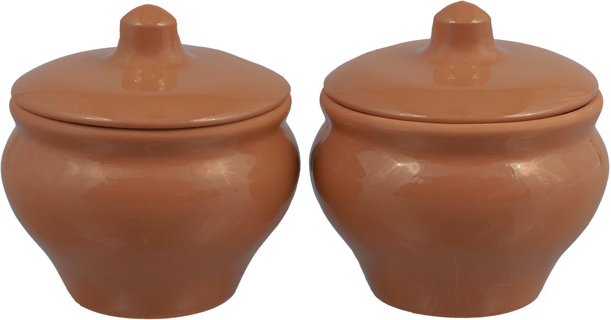 Набор горшочков для запекания Борисовская керамика Мечта хозяйки, цвет: светло-коричневый, 350 мл, 2 шт набор горшочков для запекания борисовская керамика стандарт с крышками цвет светло коричневый темно коричневый 600 мл 4 шт