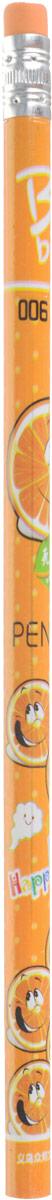 Карандаш чернографитный Фрукты и ягоды с ластиком твердость HB цвет корпуса оранжевый