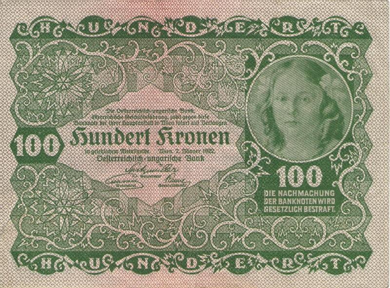Банкнота номиналом 100 крон. Австрия. 1922 год банкнота австрия р75