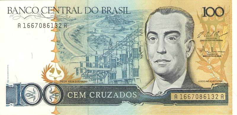 Банкнота номиналом 100 крузадо. Бразилия. 1986-1988 года банкнота номиналом 5 новых крузадо бразилия 1989 год