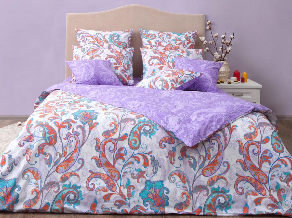 Комплект постельного белья Хлопковый Край Кемер, 1,5 спальный, наволочки 70x70, цвет: перламутровый комплект постельного белья хлопковый край египет 5485 1