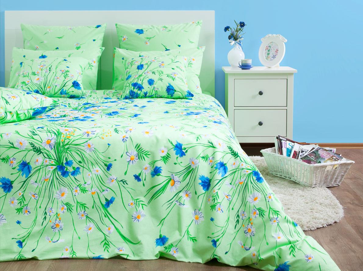 Комплект постельного белья Хлопковый Край Есения, 1,5 спальный, наволочки 70x70, цвет: зеленый комплект постельного белья хлопковый край элегия 2 х спальный наволочки 70x70