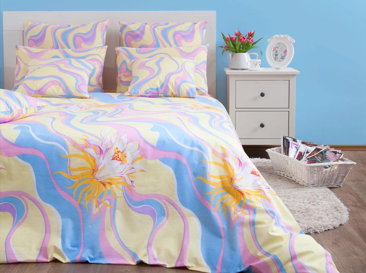 Комплект постельного белья Хлопковый Край Элегия, 1,5 спальный, наволочки 70x70 комплект постельного белья хлопковый край элегия 2 х спальный наволочки 70x70