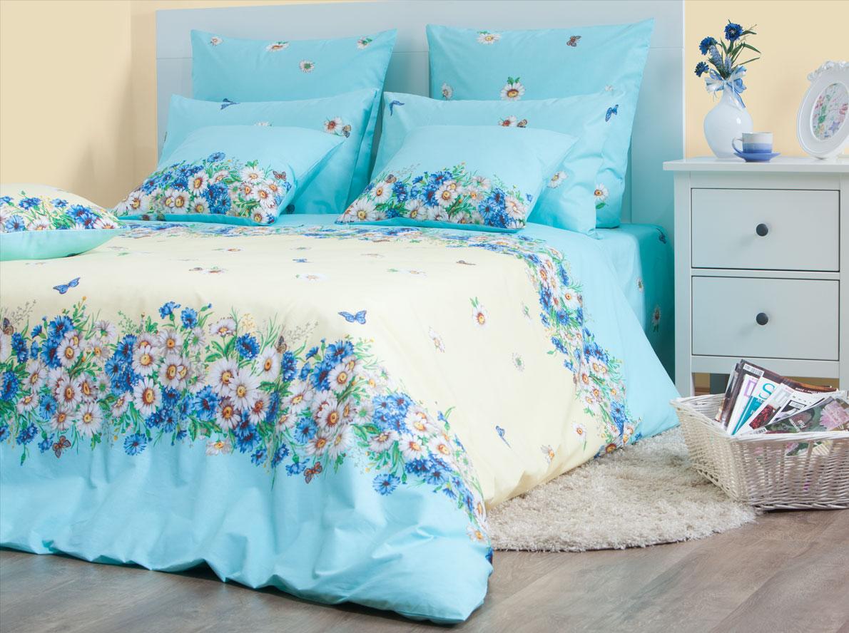 Комплект постельного белья Хлопковый Край Камилла, 2-х спальный, наволочки 70x70, цвет: голубой комплект постельного белья хлопковый край лион 5611 2