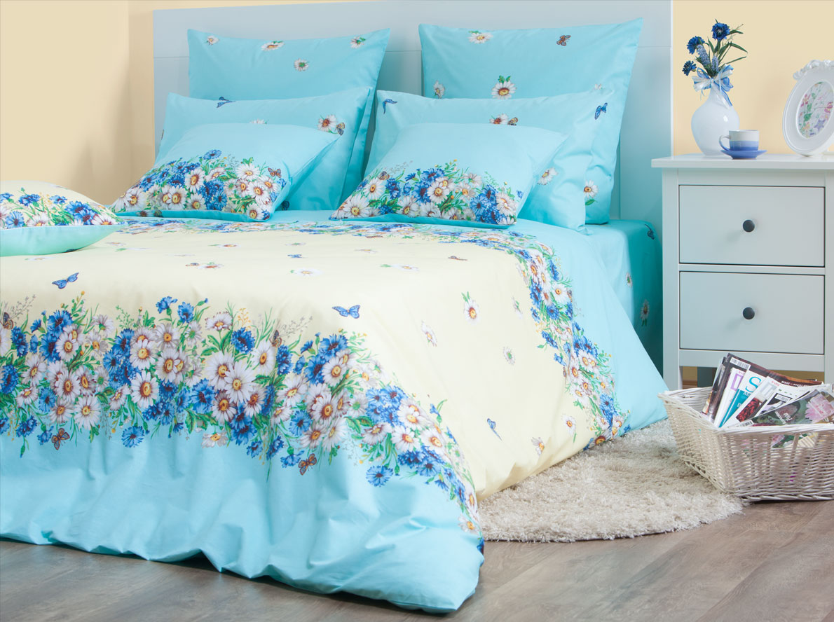 Комплект постельного белья Хлопковый Край Камилла, евро, наволочки 50x70, 70x70, цвет: голубой комплект постельного белья хлопковый край египет 5485 1