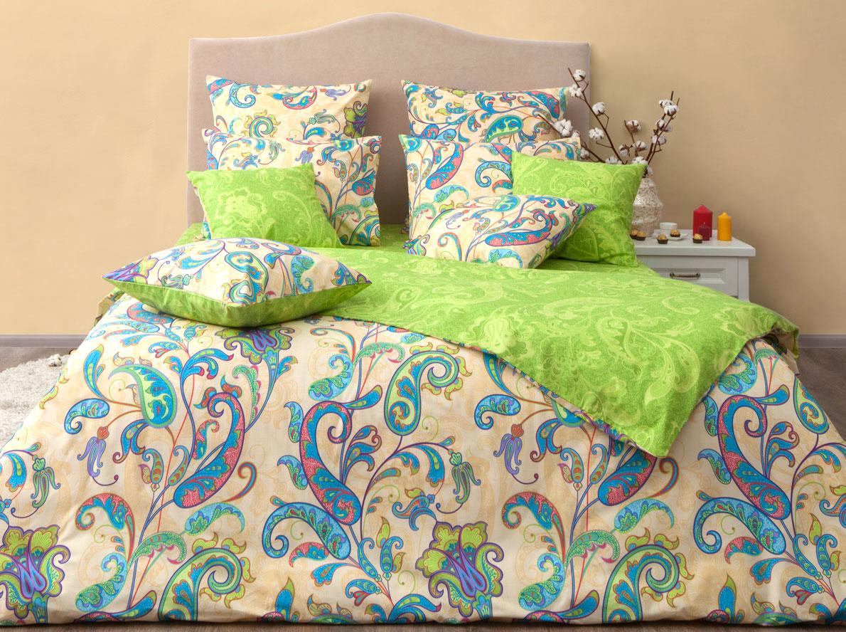 Комплект постельного белья Хлопковый Край Кемер, 2-х спальный, наволочки 70x70, цвет: лайм комплект постельного белья хлопковый край элегия 2 х спальный наволочки 70x70