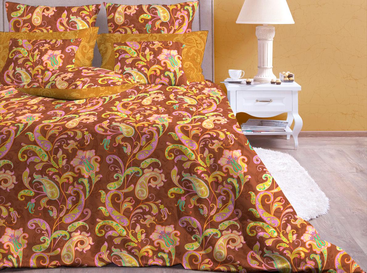 Комплект постельного белья Хлопковый Край Кемер, 1,5 спальный, наволочки 70x70, цвет: мокко комплект постельного белья хлопковый край элегия 2 х спальный наволочки 70x70