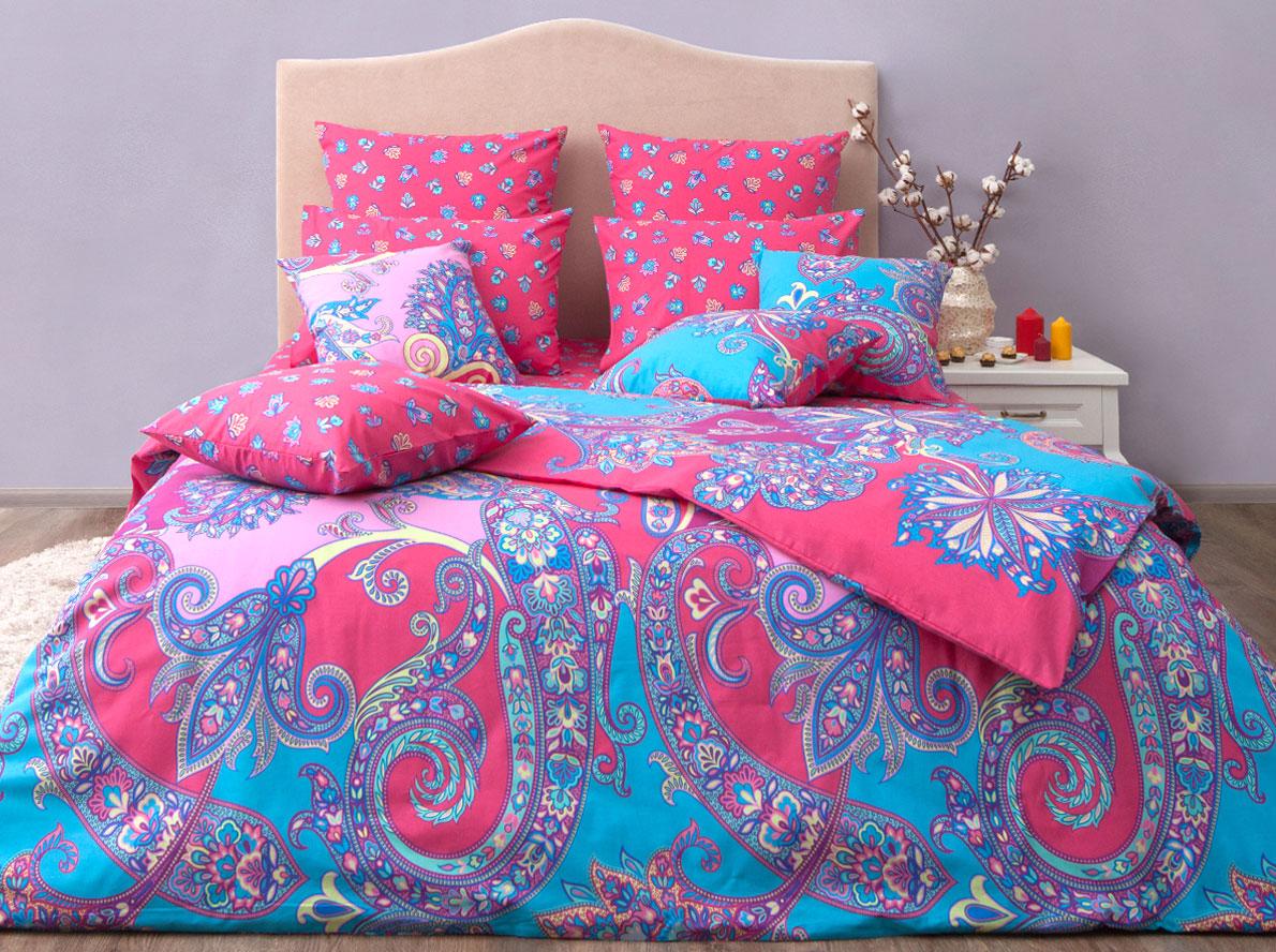 Комплект постельного белья Хлопковый Край Анамур, евро, наволочки 50x70, 70x70, цвет: коралловый постельное белье хлопковый рай блаженство комплект евро сатин