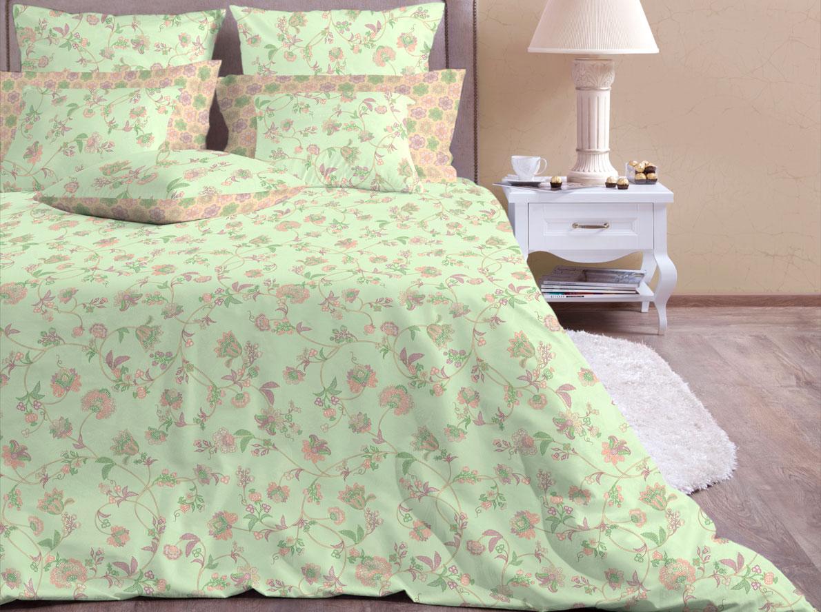 Комплект постельного белья Хлопковый Край Элизабет, 2-х спальный, наволочки 70x70, цвет: фисташковый комплект постельного белья хлопковый край египет 5485 1
