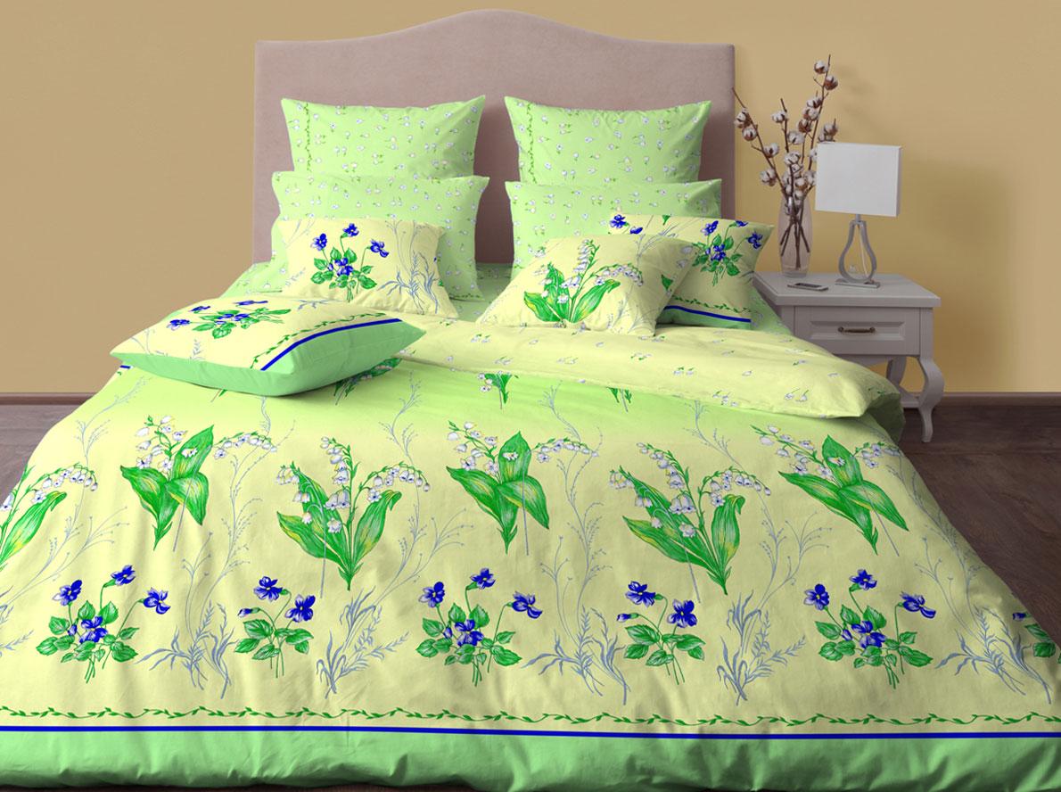 Комплект постельного белья Хлопковый Край Ландыши, 2-х спальный, наволочки 50x70 комплект постельного белья хлопковый край элегия 2 х спальный наволочки 70x70