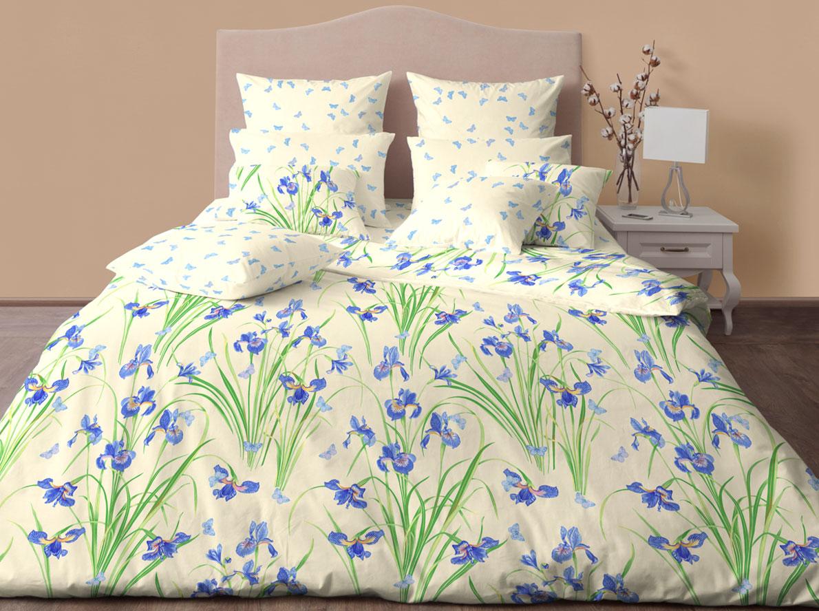 Комплект постельного белья Хлопковый Край Ирисы, евро, наволочки 50x70, 70x70 постельное белье хлопковый рай блаженство комплект евро сатин