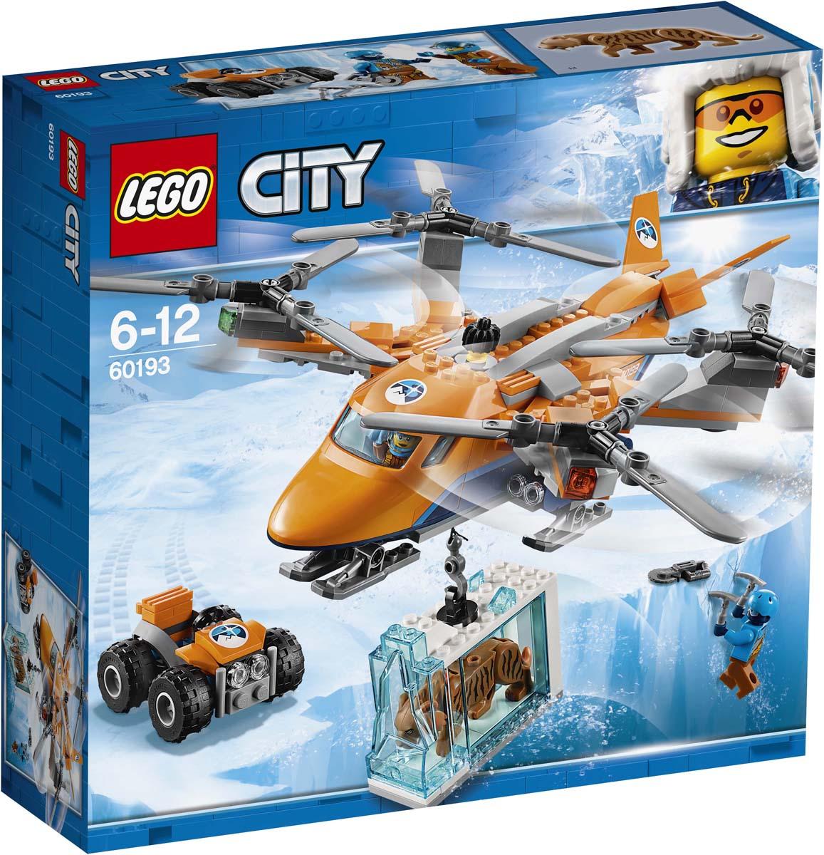 LEGO City Arctic Expedition 60193 Арктический вертолет Конструктор60193Зовите пилота; мы повезём на арктическом вертолёте LEGO® City важный груз! Забирайся на край ледниковой трещины и помоги перевести квадрокоптер в режим парения, чтобы пилот смог опустить крюк. Поймай крюк и закрепи на него ледяной блок, а затем дай команду на взлёт. Возвращайся на базу на мотовездеходе как можно скорее и изучи находку!