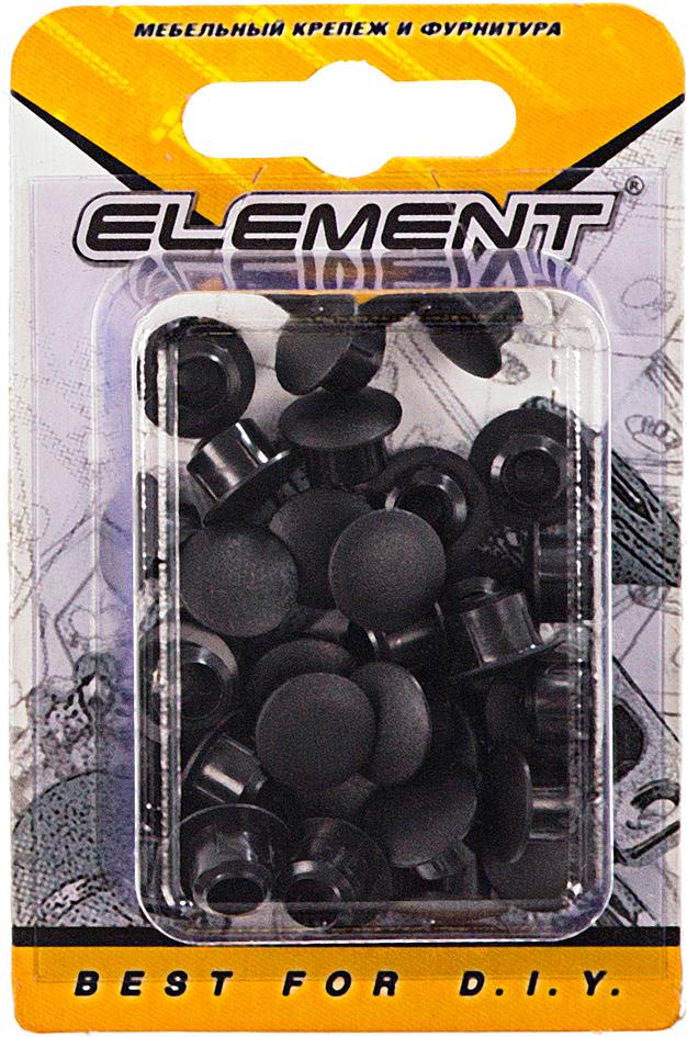 Заглушка декоративная Element, цвет: черный, 8 мм, 35 шт2034Применяется как декоративная заглушка для закрытия отверстий в косяках, рамах и других деревянных поверхностях.