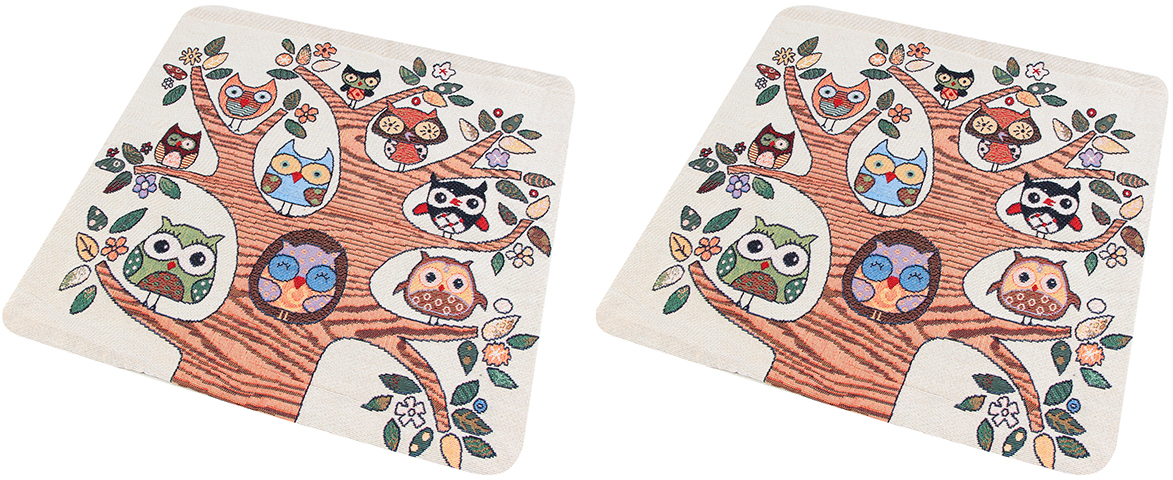 """Наволочка декоративная EL Casa """"Совы на дереве"""", 43 x 43 см, 2 шт"""