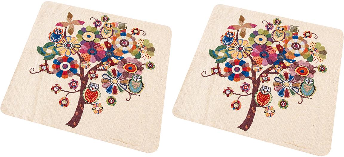 "Наволочка декоративная EL Casa ""Чудо-дерево с совами"", 43 x 43 см, 2 шт"