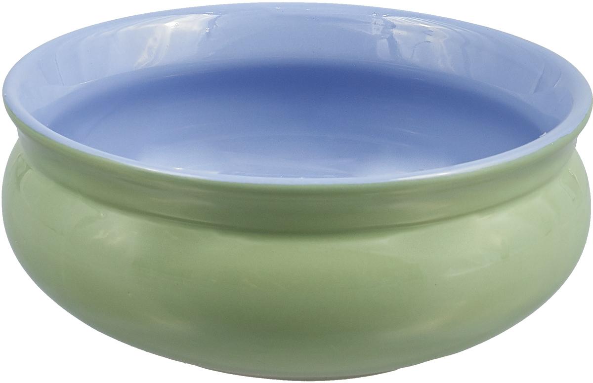 Тарелка глубокая Борисовская керамика Скифская, цвет: светло-зеленый, голубой, 500 мл тарелка глубокая борисовская керамика скифская цвет оранжевый изумрудный 500 мл