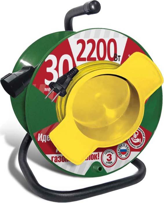 Удлинитель СОЮЗ, на катушке, с 1 выносной розеткой, 2200 Вт, 30 м удлинитель с выносной литой розеткой электробыт у к 30 30 метров 6а 1200 вт