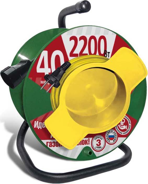 Удлинитель СОЮЗ, на катушке, с 1 выносной розеткой, 2200 Вт, 40 м удлинитель с выносной литой розеткой электробыт у к 30 30 метров 6а 1200 вт