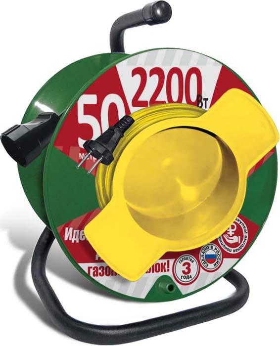 Удлинитель СОЮЗ, на катушке, с 1 выносной розеткой, 2200 Вт, 50 м удлинитель с выносной литой розеткой электробыт у к 30 30 метров 6а 1200 вт
