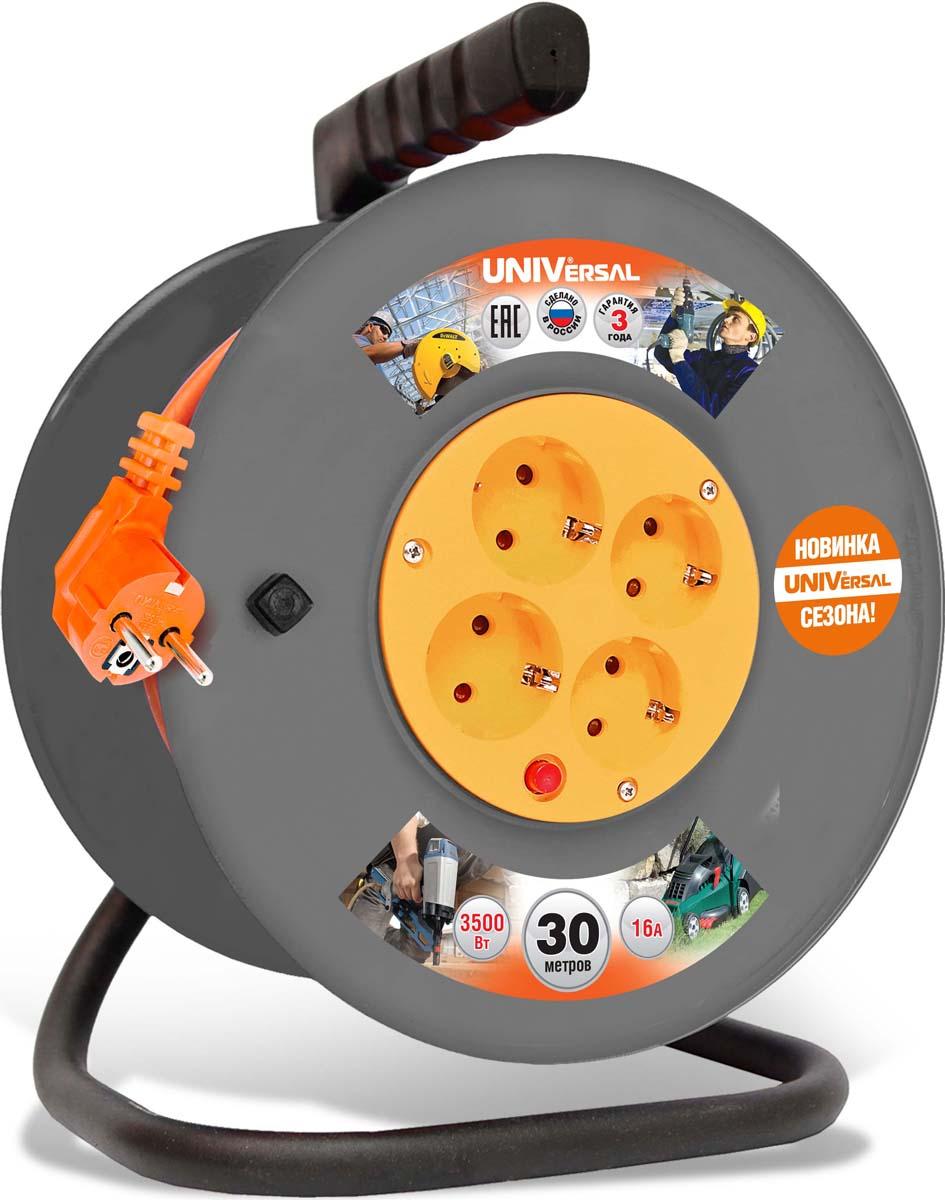 """Удлинитель UNIVersal """"ВЕМ-250"""", на катушке, с термовыключателем, с заземлением, ПВС 3 х 1,5, 4 гнезда, 30 м"""