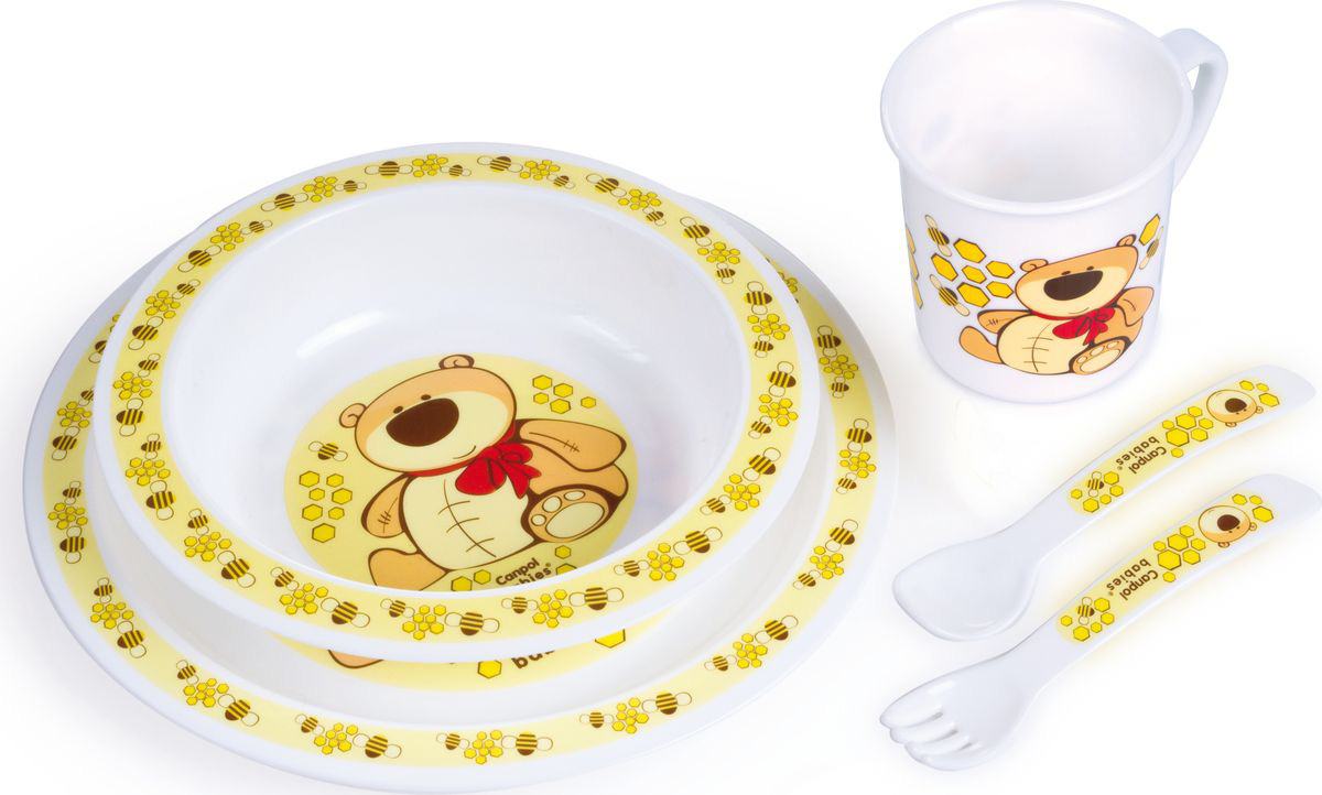 Canpol babies Набор посуды для кормления цвет желтый 5 предметов недорого