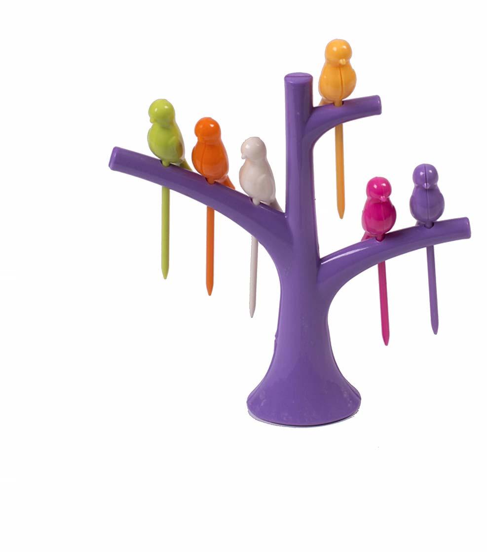 Набор шпажек для канапе Magic Home Райские птички, с подставкой, 7 предметов набор для канапе antella шпаги 24 шт