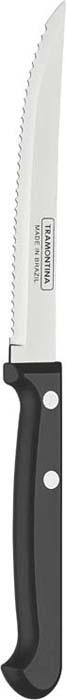 Нож для мяса Tramontina Ultracorte, цвет: черный, длина лезвия 12,5 см23854/105-TRБлагодаря уникальному методу закалки в несколько этапов: - термическая закалка от + 850°C до + 1 060°C; - охлаждение системой вентиляции до +350°C; - промораживание при -80°C в течение 30 минут; - нагревание газом от +250°C до +310°C сталь приобретает особую пластичность, коррозийно и жаростойкость, сохраняя твердость порядка 53 единиц по шкале Роквелла. Как результат, ножи TRAMONTINA требуют более редкой правки и заточки, что обеспечивает более долгий срок службы по сравнению с ножами из аналогичной стали других производителей. Волнистое острие лезвия ножа не потребует постоянной заточки и даст возможность быстро и качественно порезать продукты, даже такие, как помидоры - с мягкой сердцевиной и твердой кожицей. Рукоятки серии Ultracorte выполнены из полипропилена с 45% карбоната и нетоксичным противомикробным покрытием Microban , эффективно препятствующим размножению бактерий и сохраняющим свои свойства даже в случае механического повреждения 24 часа в сутки. Гарантия от производственного брака на ножи серии Ultracorte 5 лет! Материал лезвия: нержавеющая сталь AISI 420 Материал рукоятки: полипропилен с 45% содержанием карбоната и противомикробной защитой Microban Длина лезвия: 12,5 см Можно мыть в посудомоечной машине: да Страна производства: Бразилия