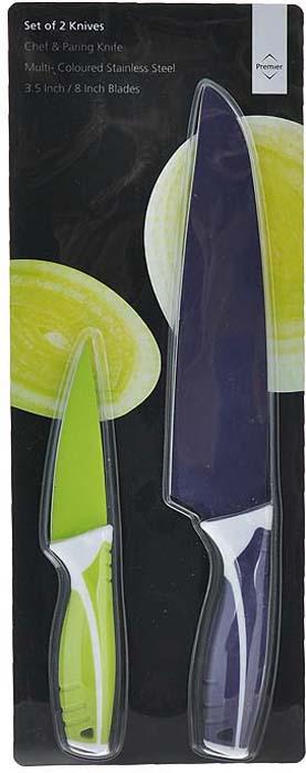 Набор ножей Premier Housewares, 2 предмета. 09070730907073Набор Premier Housewares состоит из ножа для чистки овощей и поварского ножа. Лезвия ножей выполнены из высококачественной нержавеющей стали с покрытием non-stic. Покрытие обладает антибактериальными свойствами, легко моется, не впитывает запахи и не окрашивается соками различных продуктов. Эргономичные рукоятки с покрытием Soft-touch выполнены из пластика. В набор входят: Нож поварской - нож с тяжелой ручкой, толстым, широким и длинным лезвием. Все это позволяет легко рубить капусту, овощи, зелень, резать замороженное мясо, рыбу и птицу. Нож для чистки - нож с коротким прямым лезвием. Им удобно снимать кожуру с любого фрукта и овоща. Характеристики: Материал: нержавеющая сталь, пластик. Общая длина ножа для чистки овощей: 20,5 см. Длина лезвия ножа для чистки овощей: 10 см. Общая длина поварского ножа: 33 см. Длина лезвия поварского ножа: 21,5 см. Артикул: 0907073.