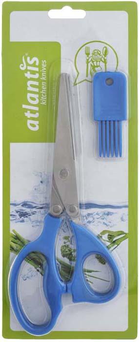Ножницы кухонные Atlantis, для шинковки зелени, цвет: синий. 18LF-1005-B ножницы кухонные atlantis универсальные цвет синий 18lf 1001 b