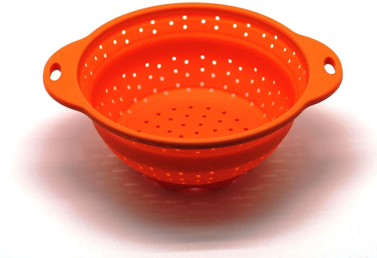 """Дуршлаг складной """"Atlantis"""", цвет: оранжевый, диаметр 21,5 см. SC-SB-015A-O"""