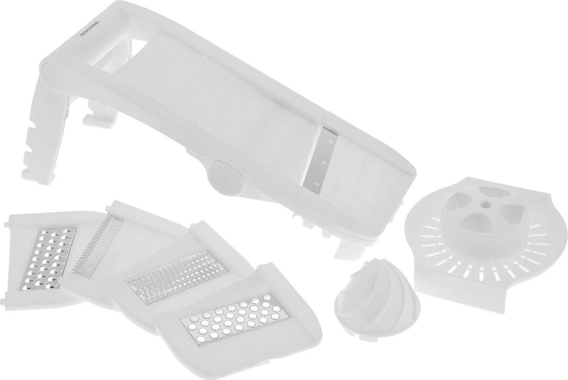 Мульти-терка Tescoma Мандолина, цвет: белый643862Мульти-терка Tescoma Мандолина выполнена из высококачественного пластика. Режущие лезвия насадок из нержавеющей стали обеспечивают эффективную нарезку продуктов. В комплект входят 5 съемных насадок: для фигурной нарезки, мелкой шинковки, крупной шинковки, нарезки твердых продуктов (твердого сыра, шоколада), для плоской нарезки, а также два встроенных лезвия для нарезки ломтиков картофеля крупного и мелкого размера. Кроме того, в комплекте безопасный держатель для продуктов и массивная ручка для удобного пользования. Терка снабжена выдвижными ножками с силиконовыми антискользящими вставками для комфортной работы.Можно мыть в посудомоечной машине. Размер терки в сложенном виде: 34 см х 12,5 см х 6,5 см. Размер терки с выдвинутыми ножками: 35 см х 12,5 х 16,5 см. Размер насадки: 12,7 см х 11 см х 0,7 см. Рекомендуем!