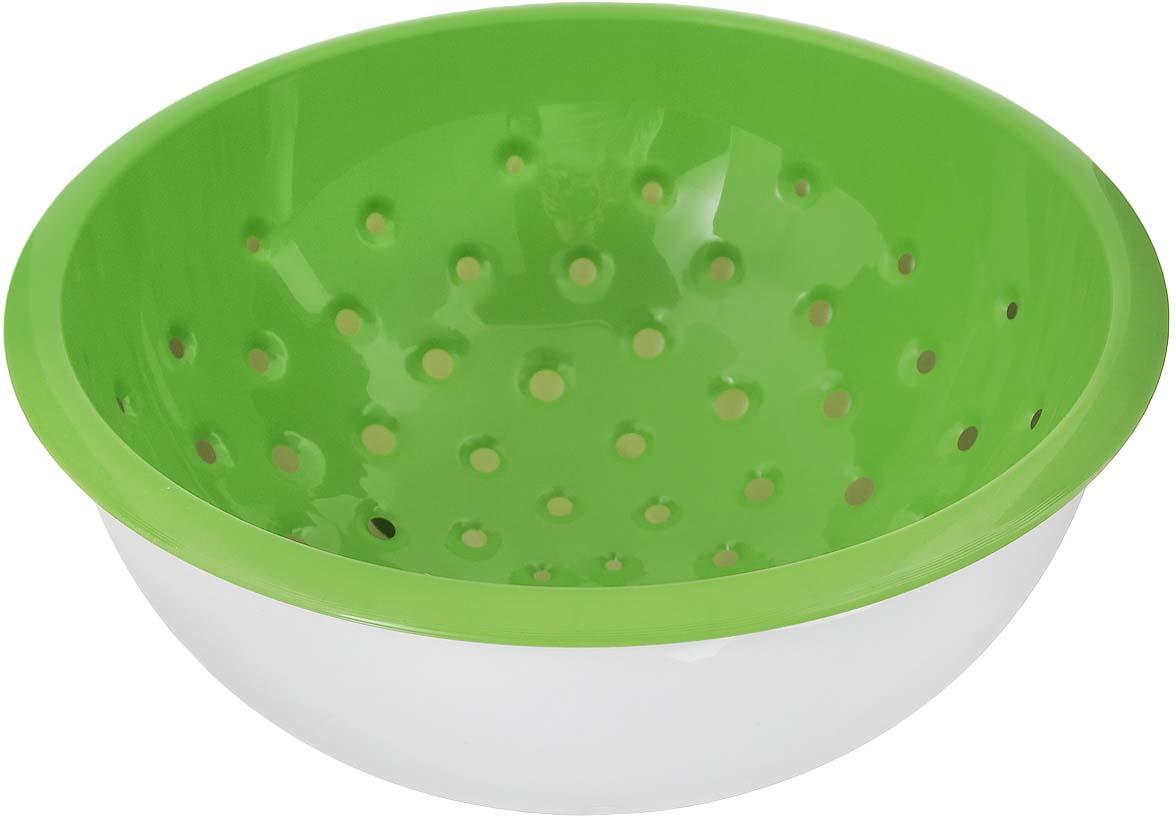 "Дуршлаг Tescoma ""Vitamino"", с чашкой, цвет: белый, зеленый, диаметр 20 см"