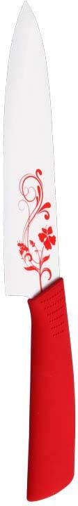 Нож кухонный керамический 17,5 см красный с принтом. 1508230U