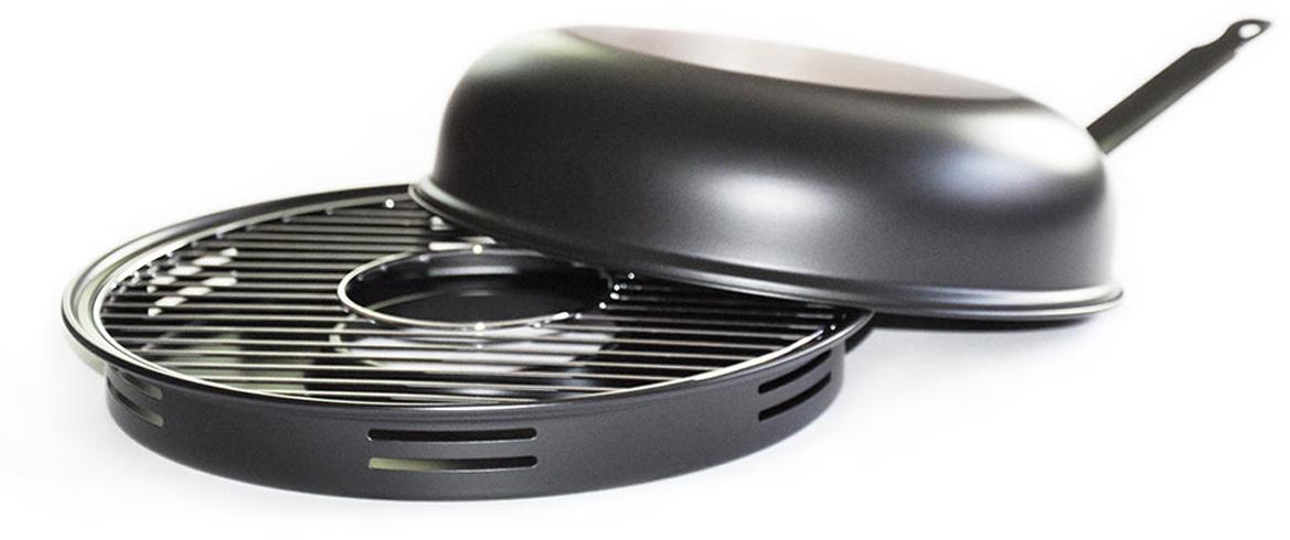Сковорода Гриль-газ с крышкой, решеткой-гриль, керамическим покрытием. Диаметр 32 см