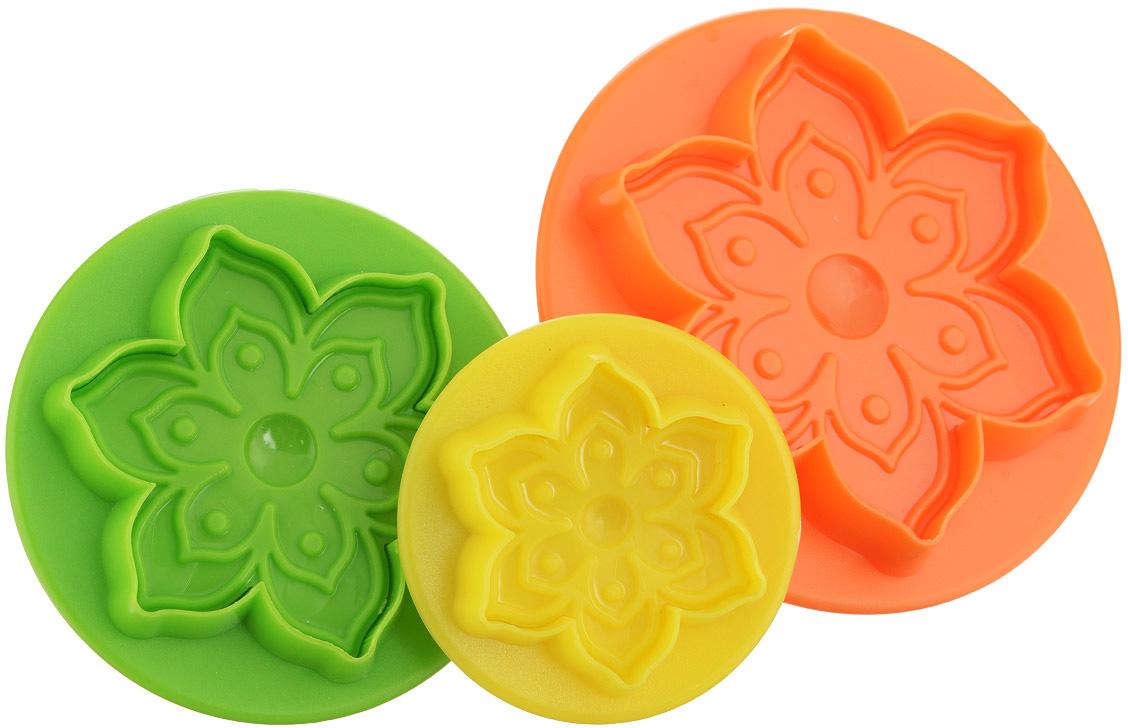 Набор форм для печенья Mayer & Boch Цветок, цвет: зеленый, оранжевый, желтый, 3 шт набор формочек borner цветок 6 предметов
