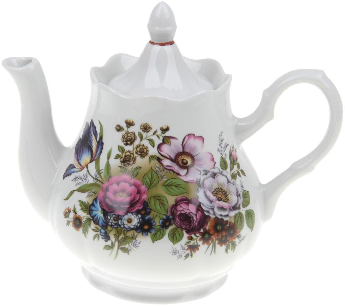 Чайник Добрушский фарфоровый завод Романс. Букет цветов, 1,75 л1303769Заварочный чайник Романс. Букет цветов изготовлен из высококачественного фарфора. Посуда оформлена ярким рисунком. Такой чайник идеально подойдет для заваривания чая. Он хорошо держит температуру, что способствует более полному раскрытию цвета, аромата и вкуса чайного букета. Изделие прекрасно дополнит сервировку стола к чаепитию и станет его неизменным атрибутом. Объем: 1750 мл. Диаметр (по верхнему краю): 9,6 см. Диаметр основания: 6,2 см. Высота чайника (без учета крышки): 10 см.