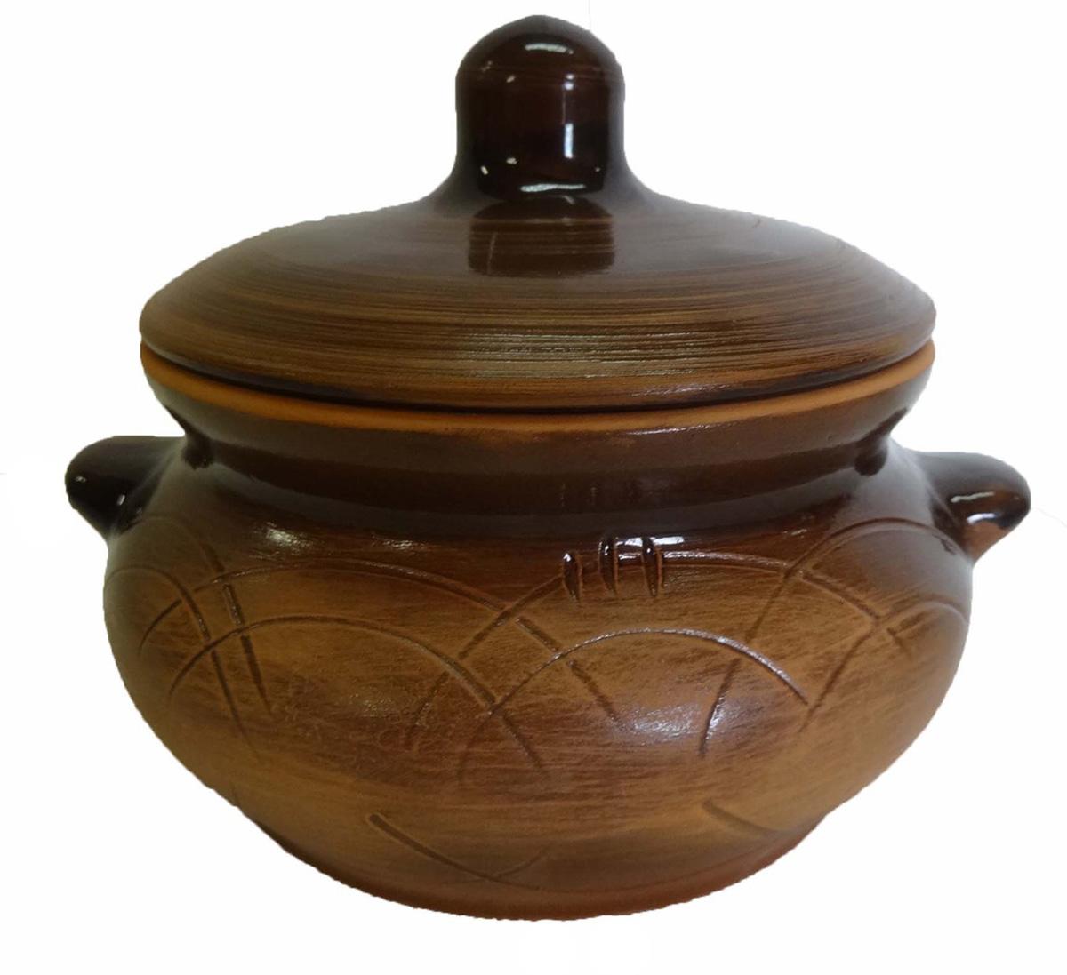 горшок для жаркого борисовская керамика лакомка цвет рисунка голубой 0 5 л Горшок для жаркого Борисовская керамика Лакомка, с ручками, 0,5 л. СТР00000360