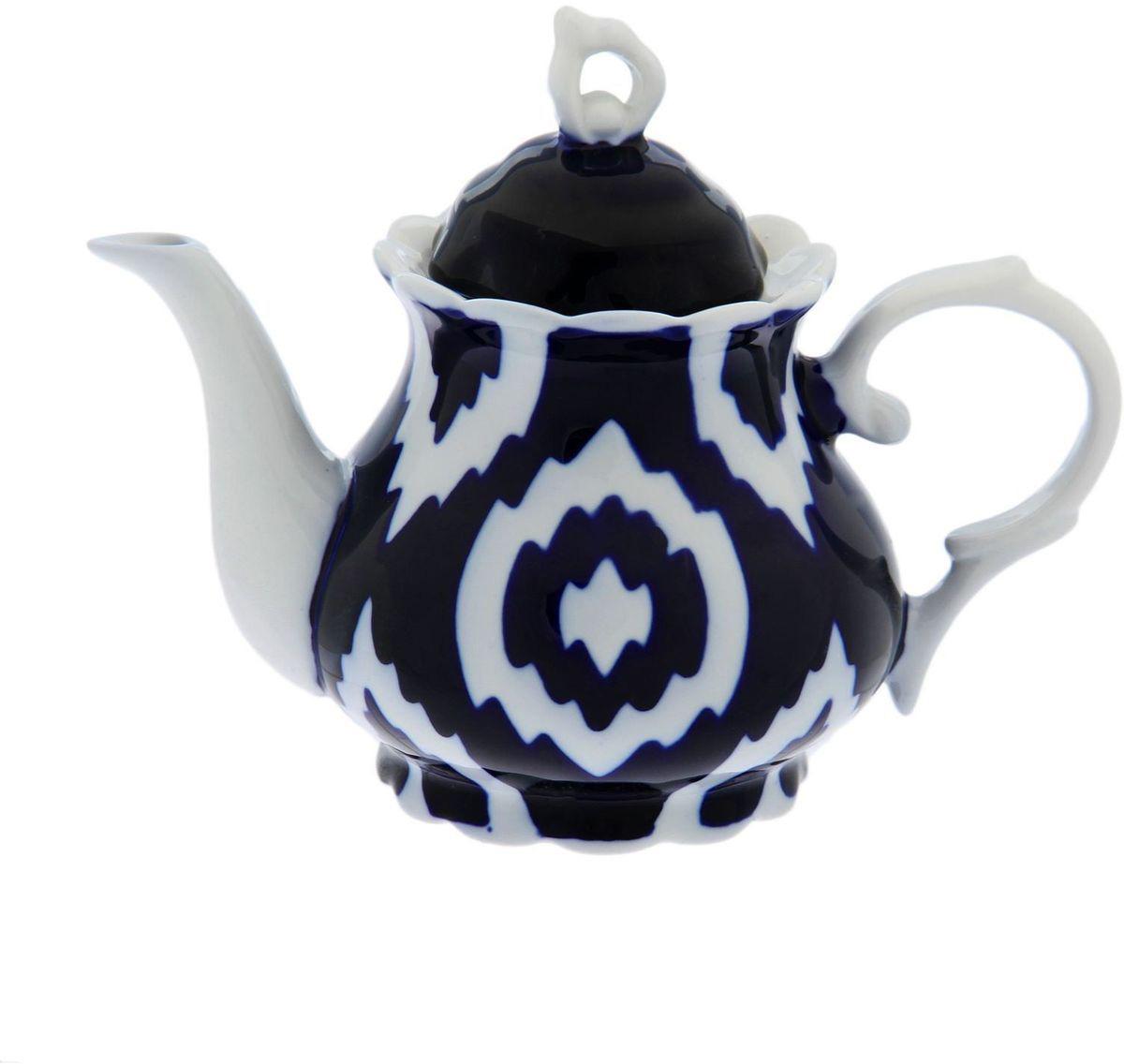 Фото - Чайник заварочный Turon Porcelain Атлас, цвет: синий, белый, 800 мл тарелка turon porcelain атлас цвет белый синий золотистый диаметр 22 5 см
