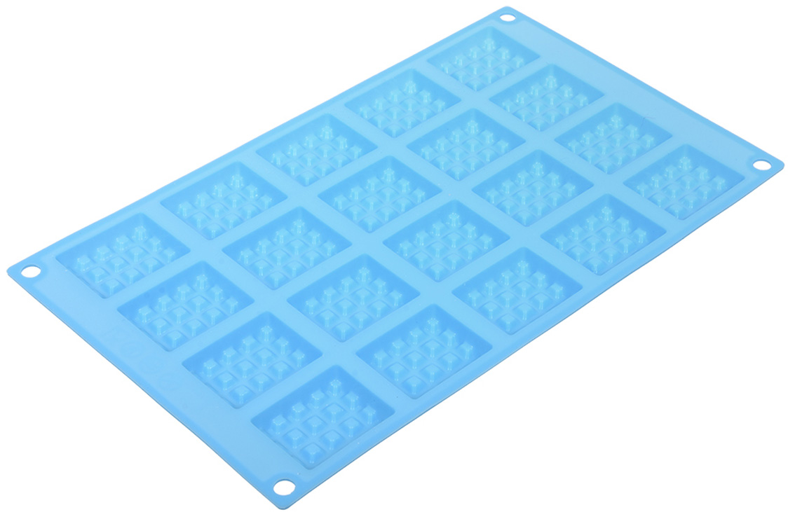 Форма для выпечки Marmiton Прямоугольное печенье, силиконовая, цвет: голубой, 20 ячеек17121Форма для выпечки Marmiton, выполненная из силикона, будет отличным выбором для всех любителей печенья. Форма обладает естественными антипригарными свойствами. Неприлипающая поверхность идеальна для духовки, морозильника, микроволновой печи и аэрогриля. Готовую выпечку или мармелад вынимать легко и просто. С такой формой вы всегда сможете порадовать своих близких оригинальным изделием. Материал устойчив к фруктовым кислотам, может быть использован в духовках и микроволновых печах (выдерживает температуру от 230°C до - 40°C). Можно мыть и сушить в посудомоечной машине.