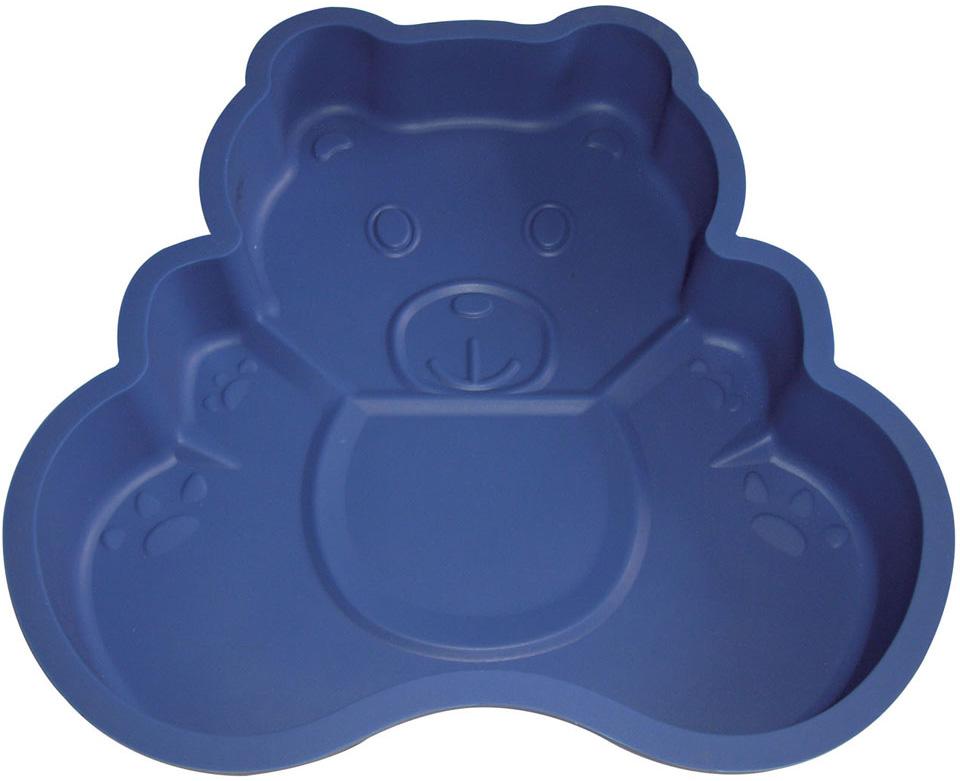 """Форма для выпечки Bekker """"Медвежонок"""", силиконовая, цвет: синий"""