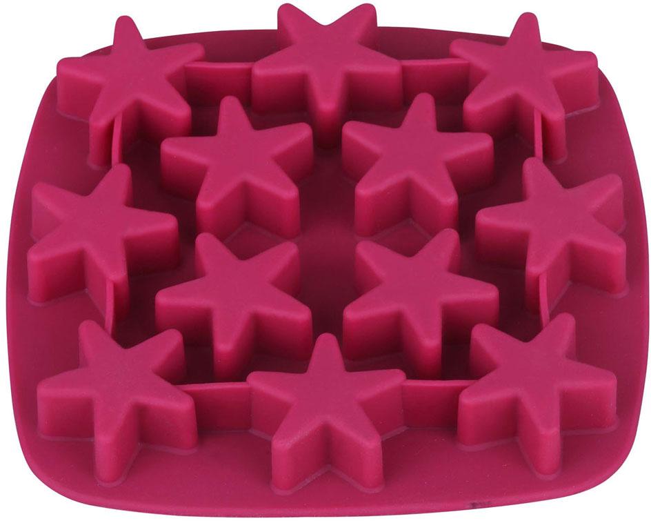 """Форма для льда Bekker """"Звездочки"""", силиконовая, цвет: вишневый"""
