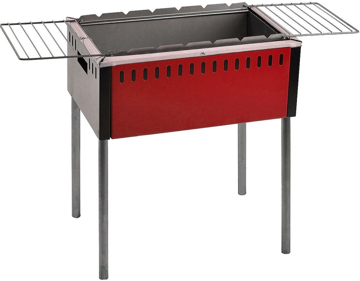 Мангал с откидными решетками Safer, цвет: серый, красный мангал с термостенками forester стационарный 54х34 см с решетками гриль bq 909