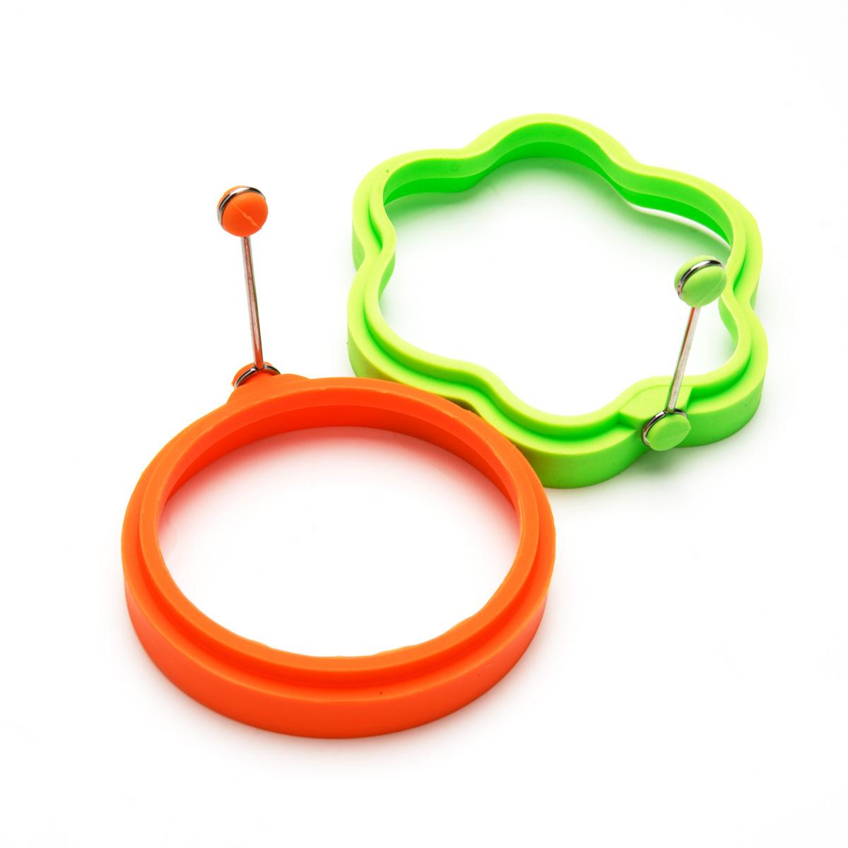 Набор форм для яичницы Mayer & Boch, цвет: оранжевый, салатовый, 2 шт набор форм для круассанов mayer