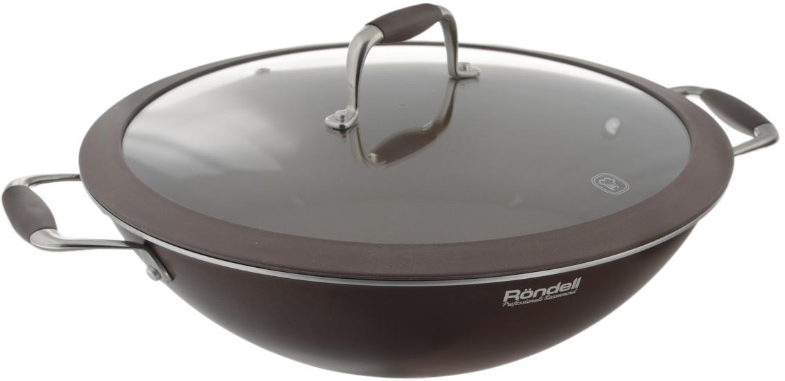 """Сковорода-вок Rondell """"Mocco"""" с крышкой, с антипригарным покрытием. Диаметр 32 см"""