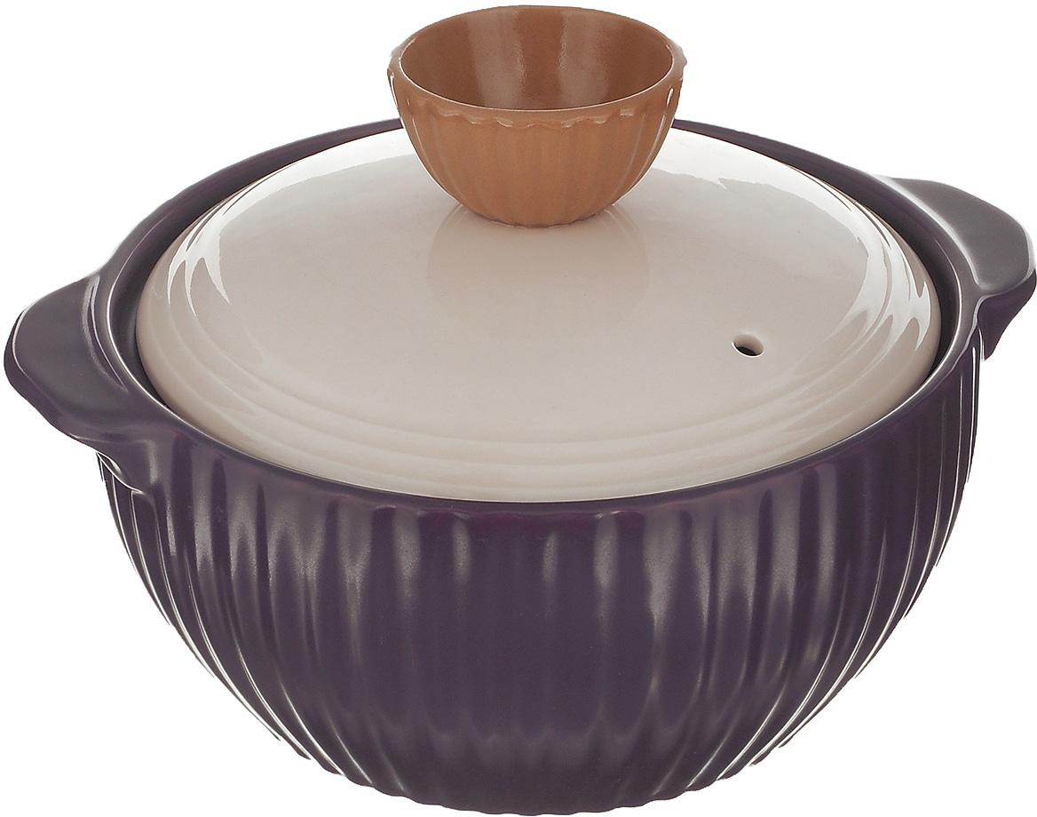 Кастрюля керамическая Frybest Mystic valley с крышкой, цвет: фиолетовый, 1,4 л кастрюля для запекания bayerhoff с крышкой в плетеной корзине керамическая 0 9 л bh 161
