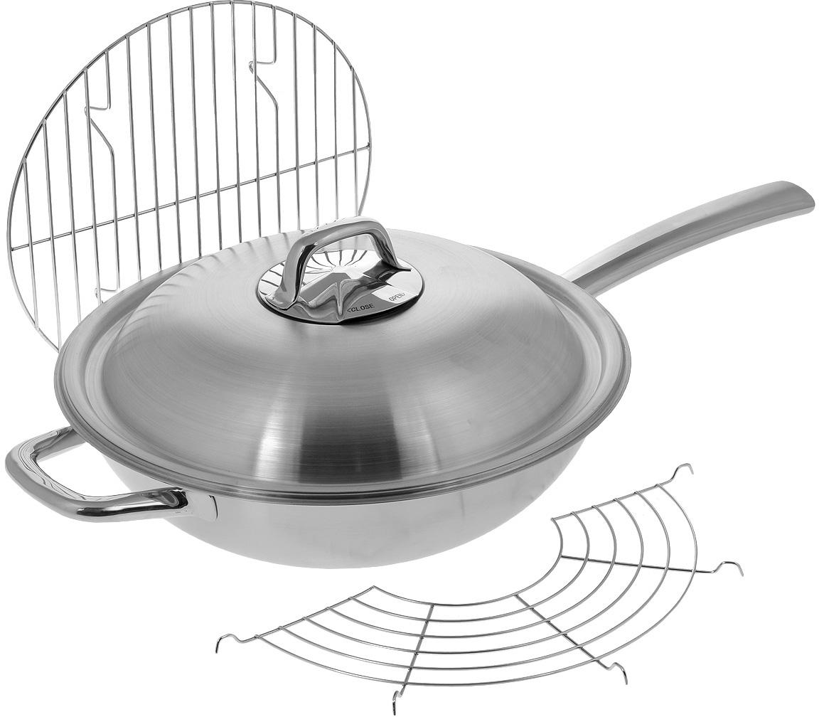 """Сковорода-вок Tescoma """"President"""" с крышкой, с решеткой-подставкой, с сеткой и решеткой для приготовления на пару. Диаметр 32 см"""